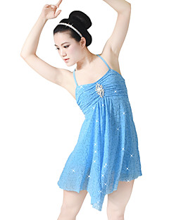 cheap Ballet Dance Wear-Ballet Dresses Sequins Women's Children's Performance Elastic Sequined Lycra Paillette Crystals/Rhinestones Ruffles Sleeveless High Dress