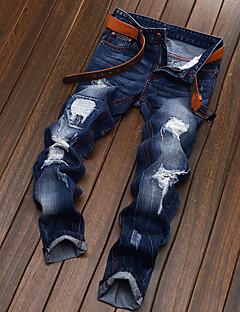 billige Herrebukser og -shorts-Herre Bomull Jeans / Chinos Bukser - dratt, Ensfarget / Helg