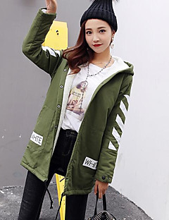 Damen Solide Street Schick Ausgehen Lässig/Alltäglich Trench Coat,Mit Kapuze Herbst Winter Standard Wolle