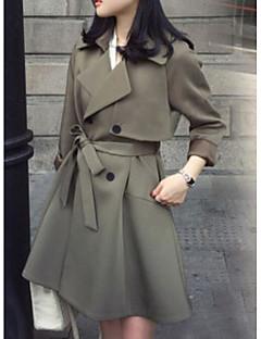 Damen Solide Einfach Lässig/Alltäglich Trench Coat,Hemdkragen Herbst Langärmelige Lang Andere