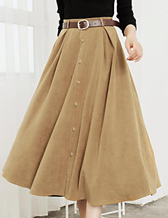 Women's Daily Knee-length Skirts,Casual Swing Faux Fur Solid Fall