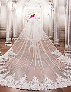 cheap Wedding Veils-One-tier Wedding Veil Cathedral Veils 53 Beading Appliques Lace Tulle