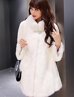 Women's Daily Simple Casual Winter Fall Fur Coat,Solid Stand Long Raccoon Fur