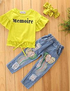 Girls' Solid Print Sets,Cotton Polyester Summer Fall Short Sleeve Clothing Set