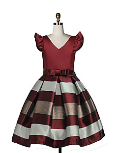 Girl's Birthday Daily Holiday Solid Striped Dress