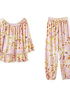 billige Moteundertøy-Dame Pyjamas,Blomstret Tynn Medium Polyester Blå Rosa