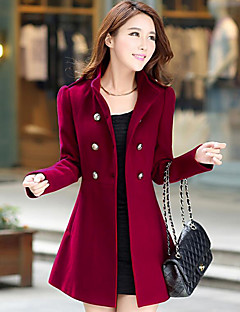 Women's Daily Vintage Casual Winter Fall Pea Coat,Solid Notch Lapel Long Sleeve Long Polyester