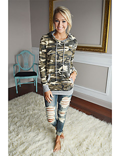 Women's Sports Hoodie Camouflage Hooded Micro-elastic Spandex Long Sleeve Summer Fall