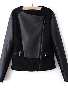 レディース お出かけ 秋 冬 レザージャケット,ヴィンテージ ラウンドネック ソリッド ショート 合皮 長袖
