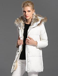 Damen Daunen Mantel,Lang Einfach Lässig/Alltäglich Solide-Kaninchen-Pelz Weiße Entendaunen Langarm