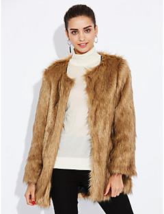 Χαμηλού Κόστους -Γυναικεία Γούνινο παλτό Εξόδου Μονόχρωμο Ψεύτικη Γούνα