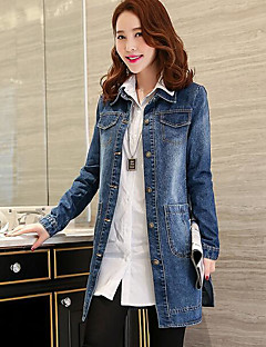 Women's Going out Street chic Fall Denim Jacket,Letter Shirt Collar Long Sleeve Regular Others