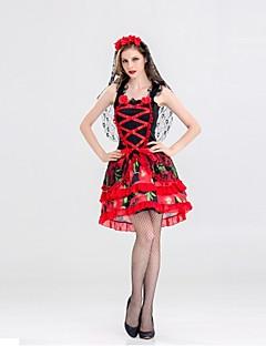 billige Voksenkostymer-Skjelett / Kranium Ghostly Bride Drakter Dame Halloween De dødes dag Festival / høytid Halloween-kostymer Rød Blomstret Vintage