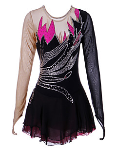 preiswerte -Eiskunstlaufkleid Damen Mädchen Eislaufen Kleider Schwarz Elasthan Strass Hochelastisch Leistung Eiskunstlaufkleidung Handgemacht