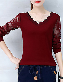Women's Daily Sexy Spring Fall T-shirt,Solid V Neck Long Sleeves Cotton Medium
