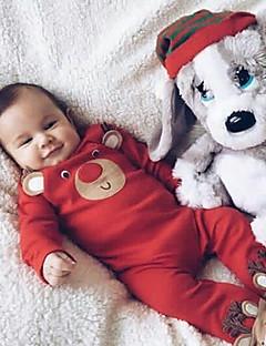 Baby Einzelteil Einheitliche Farbe Tiermuster Druck Polyester Herbst Winter Lange Ärmel