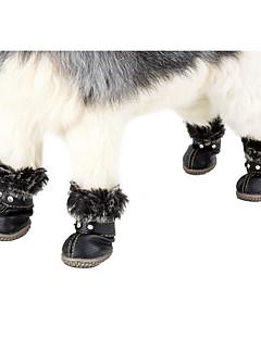저렴한 -강아지 부츠 스노우 부츠 강아지 의류 캐쥬얼/데일리 따뜻함 유지 레져 조절 가능 새해 솔리드 레드 블랙 코스츔 애완 동물