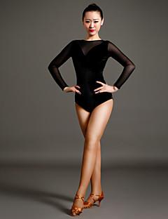 cheap Latin Dance Wear-Latin Dance Women's Performance Tulle Velvet Long Sleeves Natural Leotard/Onesie
