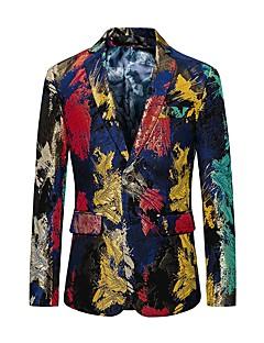 お買い得  メンズファッション&ウェア-男性用 クラブ ブレザー - 活発的 ノッチドラペル カラーブロック カモフラージュ