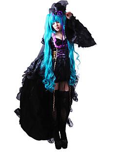 """billige Videospill Kostymer-Inspirert av Vokaloid Hatsune Miku video Spill  """"Cosplay-kostymer"""" Kjoler / Hatt / Lue Ensfarget Langermet Kjole / Hatt Halloween-kostymer / Satin"""