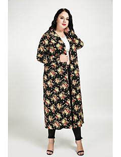 billige Kvinder Overtøj-Krave Dame Lang Blomstret mønster Sødt Gade Plusstørrelser - Trenchcoat