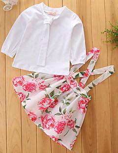 preiswerte -Mädchen Sets einfarbig Blumen Druck Baumwolle Polyester Frühling Herbst Lange Ärmel Kleidungs Set