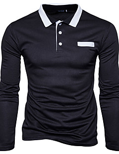 Men's Going out Casual/Daily Simple Active Chinoiserie Spring Fall Polo,Color Block Shirt Collar Long Sleeves Cotton