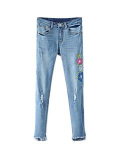 Dámské Není elastické Džíny Kalhoty chinos Kalhoty Rovné Low Rise Výšivka
