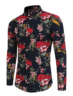 Men's Party Going out Club Vintage Active Chinoiserie All Seasons Shirt,Floral Standing Collar Long Sleeves Polyester Thin