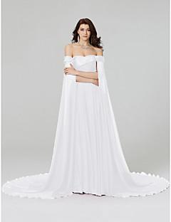 billige Kjoler i plusstørrelse-A-linje Løse skuldre Hoffslep Chiffon Formell kveld Kjole med Perlearbeid Plissert av TS Couture®