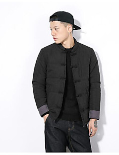 Men's Padded Coat,Simple Casual/Daily Solid-Others Cotton Long Sleeves Stand