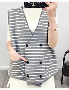 Damen Gestreift Einfach Lässig/Alltäglich Weste,V-Ausschnitt Herbst Winter Lange Ärmel Standard Polyester