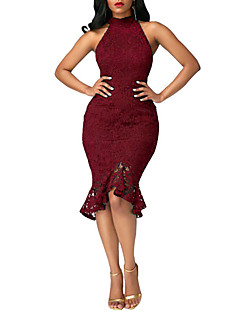 cheap Women's Dresses-Women's Bodycon Dress - Solid, Lace Ruffle High Rise Crew Neck