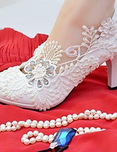 hesapli -Kadın Ayakkabı Dantel Yapay Deri Bahar Sonbahar Rahat Düğün Ayakkabıları Yuvarlak Uçlu Düğün Parti ve Gece için Taşlı Aplik İmistasyon