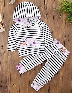 billige Tøjsæt til piger-Pige Tøjsæt Ensfarvet Stribe, Bomuld Polyester Forår Efterår Langærmet Pænt tøj Stribet Grå