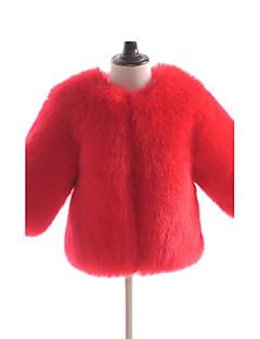 billige Jakker og frakker til piger-Pige Jakke og frakke Ensfarvet, Imiteret pels Speciel pelstype Vinter Langærmet Orange Rød