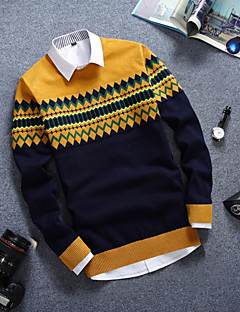 Men's Casual/Daily Regular Pullover,Color Block Round Neck Long Sleeves Cotton Fall Medium Micro-elastic