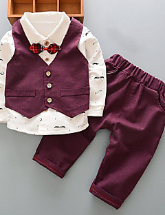 Boys' Print Clothing Set,Cotton Spring Fall Long Sleeve Cartoon Bow Blue Wine