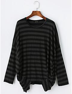 billige T-shirt-Dame - Stribet Bomuld Basale T-shirt