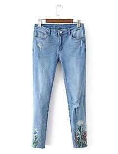Dámské Mikro elastické Džíny Kalhoty Štíhlý Vypasovaný Mid Rise Výšivka