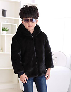 Boys' Solid Jacket & Coat,Faux Fur Special Fur Types Winter Long Sleeve Brown Black