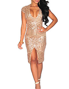 Women's Holiday Bodycon Dress,Solid V Neck Above Knee Sleeveless Others Spring Summer Mid Rise Micro-elastic Medium