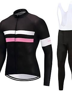 abordables -FUALRNY® Maillot et Cuissard Long à Bretelles de Cyclisme Homme Manches Longues Vélo Ensemble de Vêtements Haute élasticité Toison Hiver