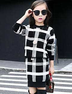 Girls' Plaid Sets,Rayon Fall Winter Long Sleeve Clothing Set