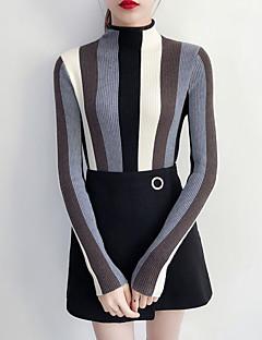 Normal Pullover Arbeid Dame,Stripet Høy krage Langermet Akryl Medium Elastisk
