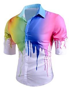 זול אופנה ובגדי גברים-פסים דפוס צווארון קלאסי סגנון רחוב פאנק & גותיות ליציאה יום יומי\קז'ואל חולצה גברים,אביב, סתיו, חורף, קיץ שרוול ארוך בינוני (מדיום) כותנה