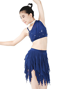 cheap Ballet Dance Wear-Ballet Outfits Women's Children's Performance Spandex Elastic Mesh Sequined Wave-like Paillette Sleeveless Natural Skirts Top Headwear
