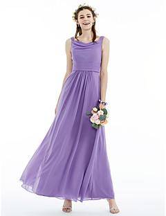 billige Lilla lidenskap-A-linje Prinsesse stropper Ankellang Chiffon Brudepikekjole med Belte / bånd Plissert av LAN TING BRIDE®