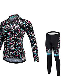 billige Sykkelklær-Malciklo Dame Langermet Sykkeljersey med tights - Svart Sykkel Klessett, Fort Tørring, Anatomisk design, Refleksbånd Fleece Lycra
