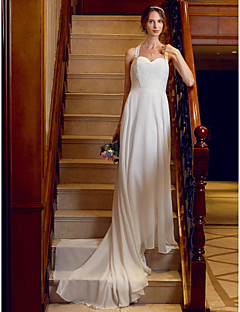 billiga Brudklänningar-A-linje / Prinsessa remmar Hovsläp Chiffong / Spets Bröllopsklänningar tillverkade med Applikationsbroderi / Knappar av LAN TING BRIDE®